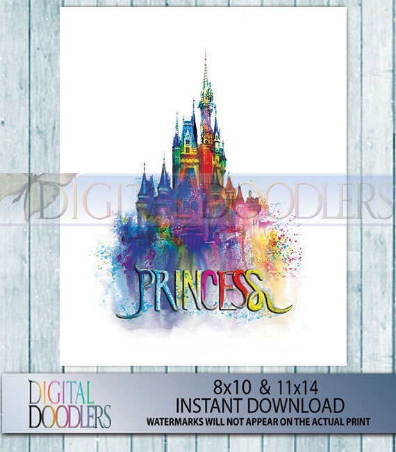 Princess themed cinderella 39 s castle with by digitaldoodlers for Cinderella castle wall mural