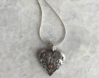 Bohemian Heart pendant necklace, heart pendent necklace, silver heart necklace, silver bohemian heart, silver necklace, heart charm, (CH2)
