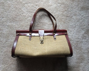 Vintage 1950s Burgundy Leather and Woven Hemp Handbag by Etienne Aigner