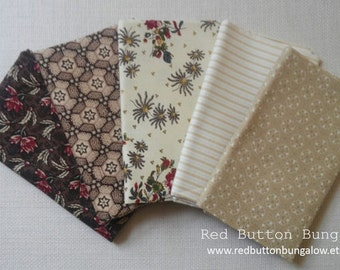 Fat Quarter Quilting Fabric Bundle - Set of 5 Cotton Prints Craft Sewing Supplies Remnant Cloth Neutral Beige Tan Brown Cream Stripe