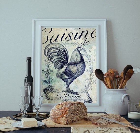 french kitchen decor rooster art rustic farmhouse giclee print