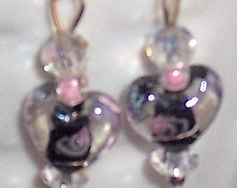 Clear Heart Earrings with Black inside with Faint bit of Pink, Very Cute. Free Shipping