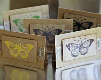 Butterfly Notelets/ Note Cards/ Gift Cards with envelopes - Naturals