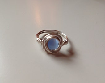 Silver  Wire Ring with Periwinkle Bead, Size 5