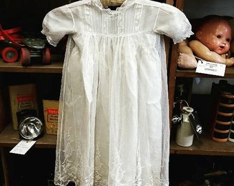 Lace and Silk Christening Gown