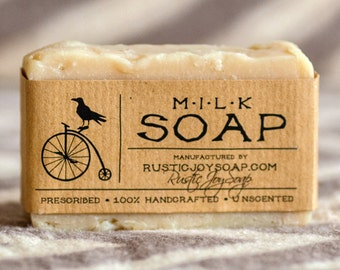 Milk Soap - Rustic Soap, All Natural Soap, Handmade Soap, milk, Homemade Soap, Unscented Soap, Cold Process Soap