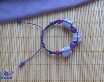 Violet jade bracelet Embroidered bracelet Gift for Women Violet shamballa bracelet Floral bracelet Charming everyday jewelry Summer bracelet