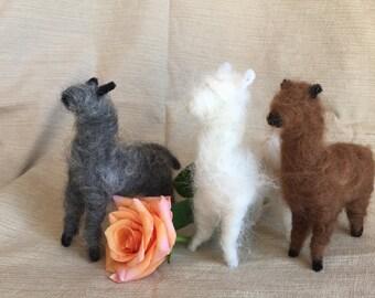 Needle felted alpaca decoration or ornament. Handmade with real alpaca fiber from home-raised alpacas.