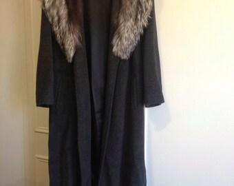 Vintage Wool Jacket, Faux Fur Collar