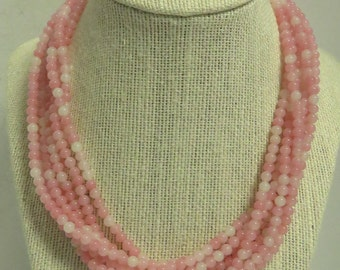 """Vintage Costume Stamped """"Ciner"""" Crystal Rhinestone Clasp Multi Stand Pinkish White Beaded Glass 18"""" Necklace."""
