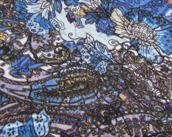 Loc Scarf Mulit Color Blue Print