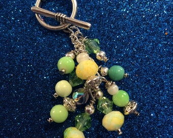 Mint, Peridot, Green Toggle Necklace with Magnetic Clasp.