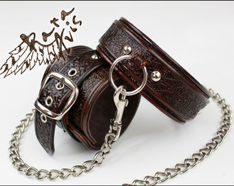 Leather BDSM Collar, Leather BDSM Restraints, Leather Blindfold,  Leather BDSM Mask