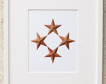 Military Art - General - Officer - Four Rusty Gold Stars - Instant Art