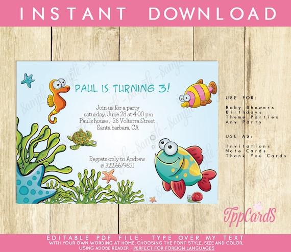 Under the sea birthday party invitations ocean reef first birthday il570xn filmwisefo
