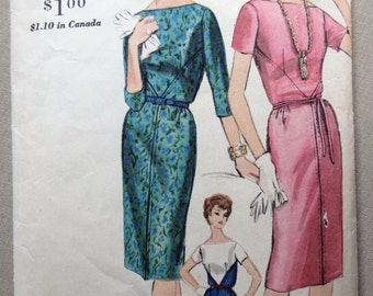 SUMMER SPECIAL 1961 Style Mad Men Office Girl Dress Pattern Vogue 5241. Size 14 Bust 34""