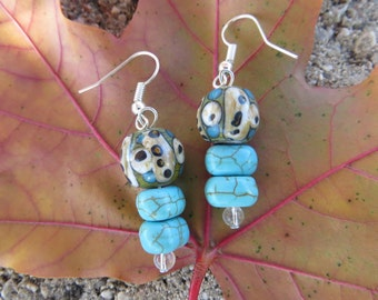 Painted Ceramic and Turquiose Earrings