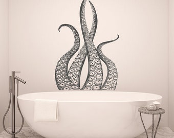 Octopus Tentacles Decal- Kraken Wall Decal Ocean Sea Animals Octopus Tentacles Decor- Nautical Wall Decals Bedroom Bathroom Home Decor 036