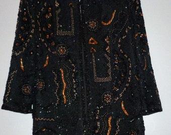 Vintage 1980's Heavily Beaded / Sequins Silk Jacket Frank Usher BNWT + Spare Beads UK 12 - 14