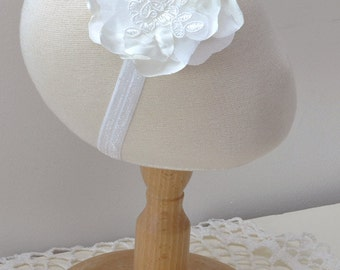 Headband wedding - flower satin wedding-white-bridal hair accessories - headband-
