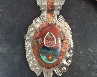 Sterling Silver and Copper Sonoran Sunset and Mexican Fire Opal Pendant