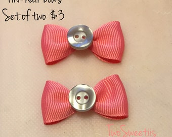 Pink and Gray Hair Clips (Set of 2)