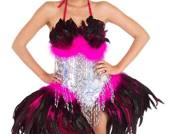 Samba Dress - Pluma Traje, Sequin Feather Dress, Vegas Dress, Showgirl Dress