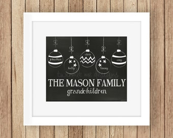 Grandparent Christmas Gift Personalized, Grandkids, Our Grandchildren Sign, Family Christmas Sign, Ornament Family Names, decoration