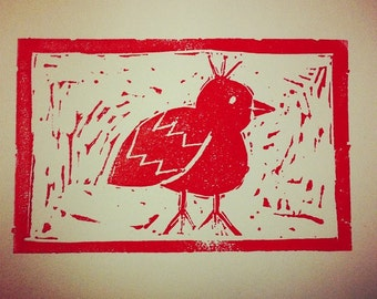 Linoprint Bird Linocut Handmade Print