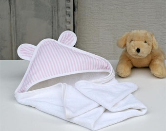 Pink baby Hooded towel,White,Hooded towels for babies,Bath towel,Striped,Soft,Baby hooded towels,1-2 ages