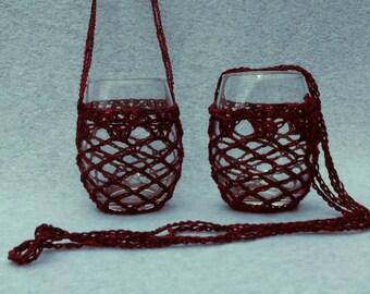 Crochet Wine Glass Holders w/glasses (set of two)