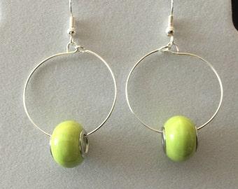 Apple Green Hoop Earrings