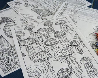 Bundle of Coloring Pages, Adult Colouring Pages, Ocean Theme Kids Coloring Pages, Instant Download Print Your Own, Hand Drawn Art