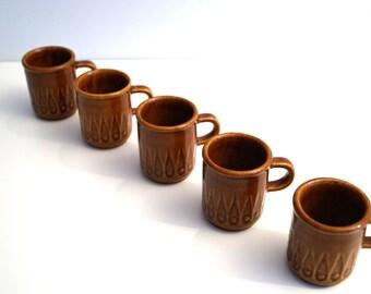 Vintage ceramic shot glasses set. Ceramic shot glasses. Set of 5 small cups with handles. Small liqueur glasses Drinking Glasses.  Mug Set