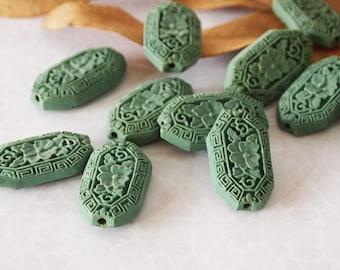 2 Cinnabar Carved Flower Flat Long Oval Bead Matte Turquoise Green Size 34mm x 20mm