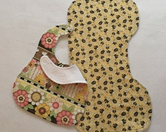 Bib and Burp Cloth-Bib-Baby Gift-Baby Bib-Burp Cloths-Burp Cloth-Bib and Burp-Baby Shower Gift-Burp Cloth and Bib-Baby Burp and Bib