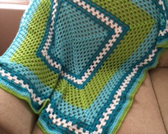 Ocean Breeze Large Contemporary Crocheted Afghan
