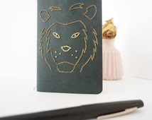Book LION - Stationery hand in golden thread-embroidered