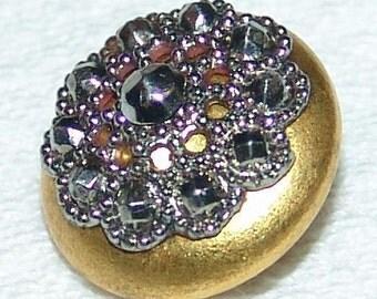 Stunning Antique Gilt Brass Button ~ Waistcoat Button ~ Cut Steel Doily Escutcheon ~ Rolled Rim ~