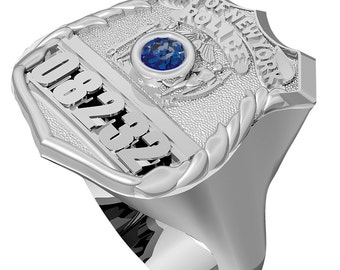 Mens Nypd Thin Blue Line Ring Police Officer Sterling