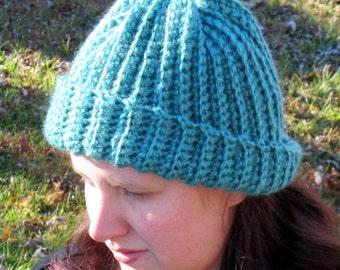 Warm Winter Crochet Hat, Turquoise