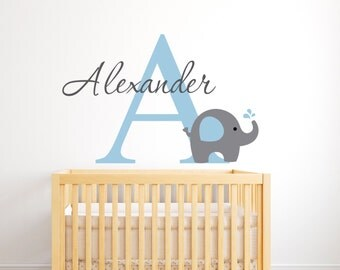 Elephant Name Wall Decal   Personalized Name Wall Decal   Elephant Wall  Decal   Nursery Wall Part 62