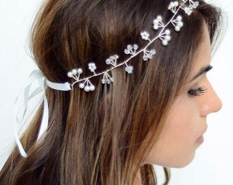 The Eleanor - Silver Twined Pearl Crystal Encrusted Bridal Veil Headband Wreath White Ribbon Crown Wedding Bride Crystals Boho gilded leaf