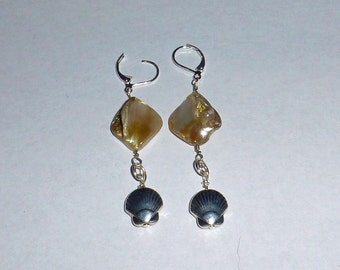 Mother of pearl and silver plated scallop earrings