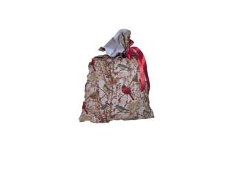 Birds & Berries Cloth Gift Bag Handmade, Fully Lined, Reusable, Ribbon Drawn