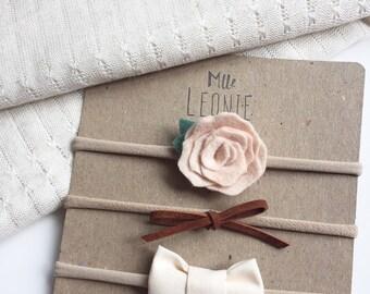 Trio of headbands for baby / child nylon - Merino Wool, leather cord and creamy white fabric flower