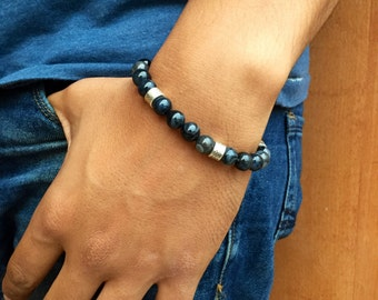 Bracelet man semi precious agate stone / mens bracelet gemstone agate black and metal / lesptitskdo