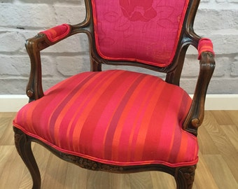 French Louis Style Pink and Red Floral/Stripe Upholstered Accent Side Chair Armchair