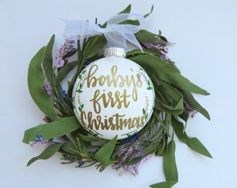 Custom Baby's First Christmas // White, Plastic Ornament