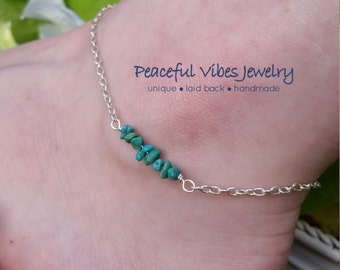 Sterling Silver Anklet With Turquoise December Birthstone Minimalist Beach Jewelry
